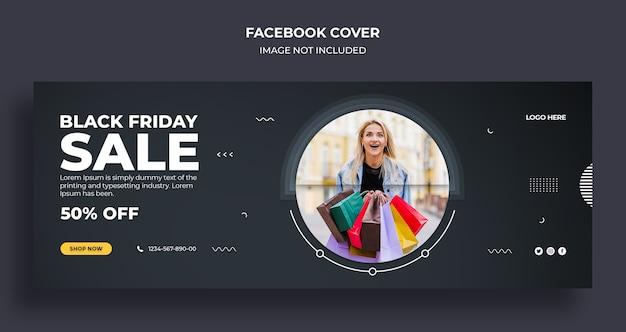 Wyprzedaż w czarny piątek na facebooku osłona czasu i szablon banera internetowego
