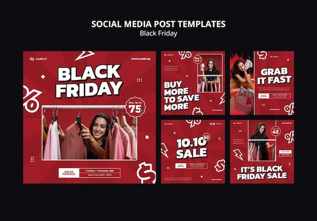 Wyprzedaż w czarny piątek posty w mediach społecznościowych