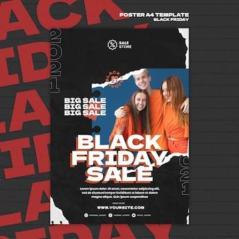 Wyprzedaż w czarny piątek z szablonem plakatu rabatowego