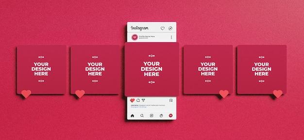 Wyrenderowany w 3d interfejs instagram do makiety postów w mediach społecznościowych
