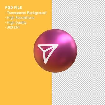Wyślij ikonę do renderowania symbolu balon 3d instagram na białym tle