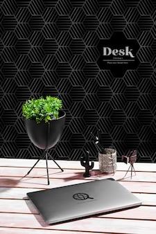 Wysoki kąt biurka z rośliną i laptopem