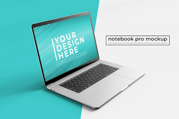 Wysokiej jakości laptop 15'4 cale premium notebook pro do internetu, interfejsu użytkownika i aplikacji photoshop mock up s z przodu po lewej stronie