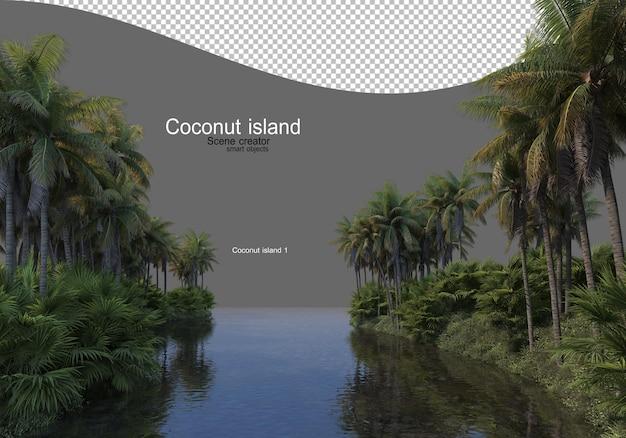 Wyspa kokosowego drzewa na jeziorze