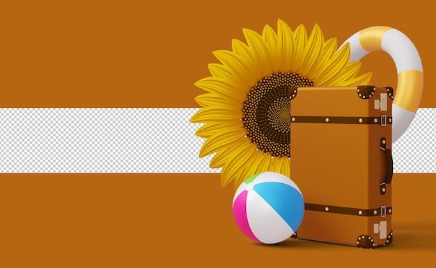 Wyświetl walizkę z szablonem letniej wyprzedaży ze słonecznym kwiatem