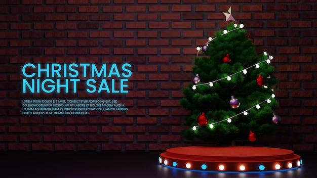 Wyświetlacz produktów na podium na noc bożonarodzeniową