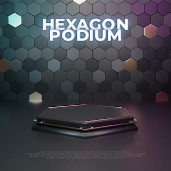 Wyświetlacz produktu hexagon 3d podium