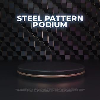 Wyświetlacz produktu na podium ze stalowym wzorem