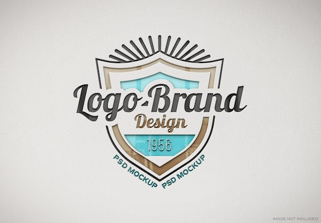 Wytłoczone błyszczące logo na białej księdze tekstury makieta