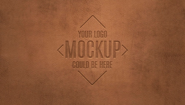 Wytłoczone logo na makiecie z brązowej skóry