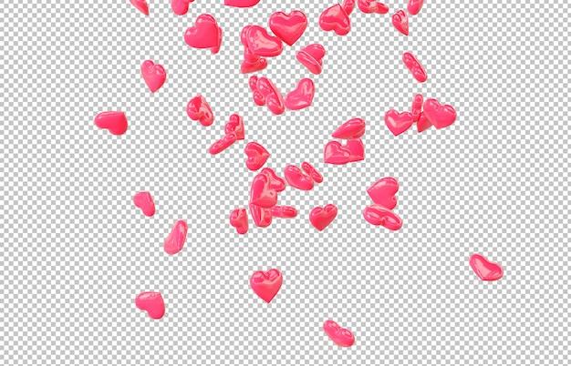 Wytnij czerwone spadające serca