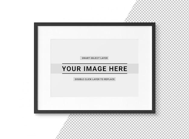 Wytnij makieta prostokątnej czarnej ramki na zdjęcia