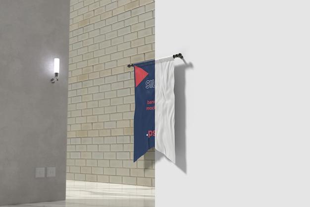 Wytnij makietę flagi z jedwabiu w pokoju