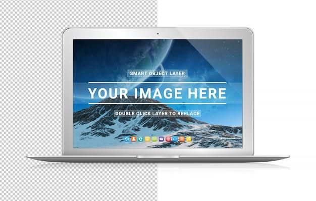 Wytnij nowoczesny laptop z makietą cienia