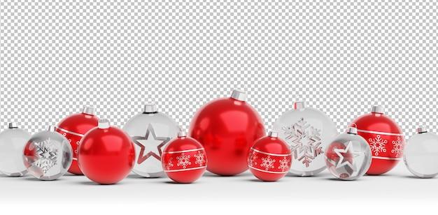 Wytnij odizolowane czerwone i szklane bombki w kolejce