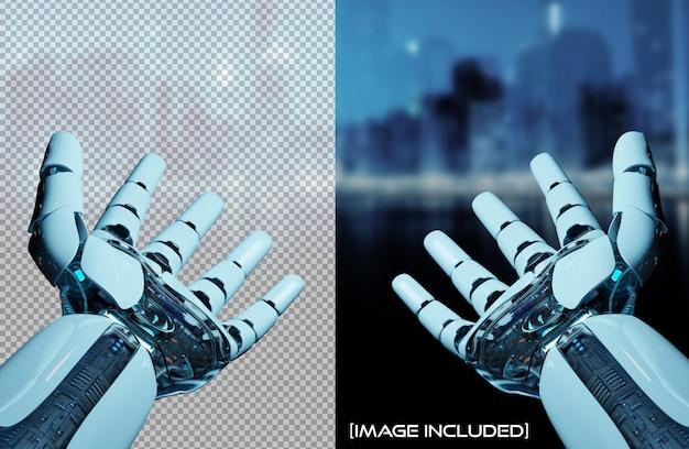 Wytnij otwarte ręce robota na białym tle