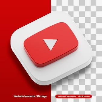 Youtube aplikacje wideo 3d ikona koncepcja logo w izometrycznym kwadratowym rogu na białym tle