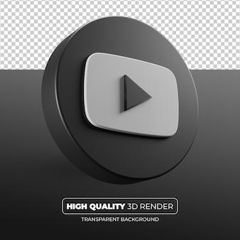 Youtube czarna ikona 3d render na białym tle