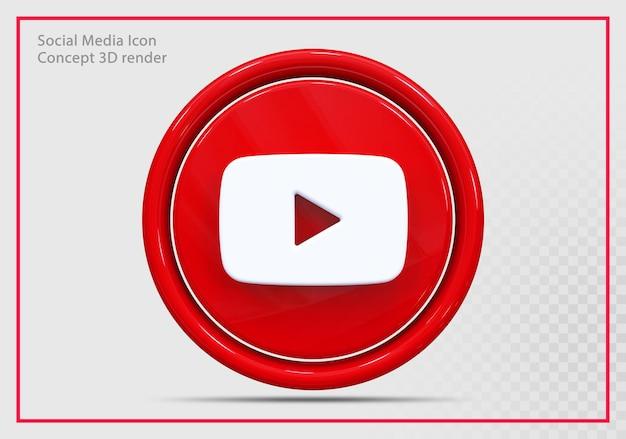 Youtube icon 3d render nowoczesny