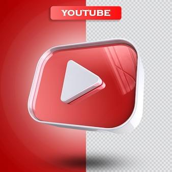 Youtube ikona 3d render nowoczesny