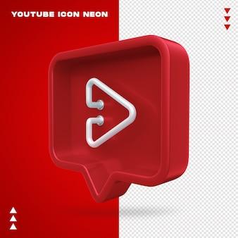 Youtube ikona neon na białym tle