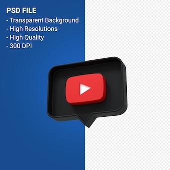 Youtube logo renderowania 3d na białym tle