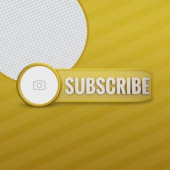 Youtube subskrybuj złoty render 3d z ikoną kanału