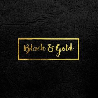 Złote Logo Mock na czarnej skórzanej