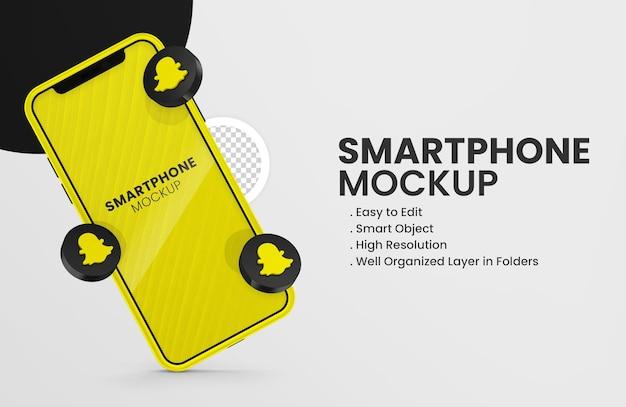Z 3d render snapchat ikona smartfona makieta