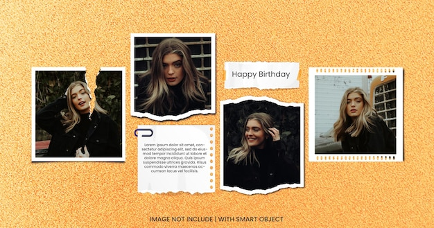 Z okazji urodzin kartka z życzeniami zdjęcie moodboard premium psd