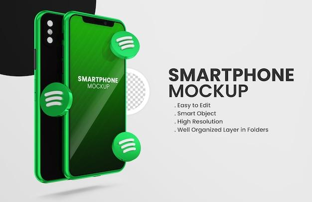 Z renderowaniem 3d spotify ikona smartfona makieta
