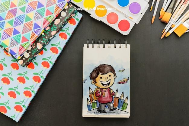 Zabawa rysunek akwarela z pędzlem i folderów
