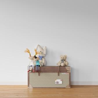 Zabawki na drewnianym pudełku