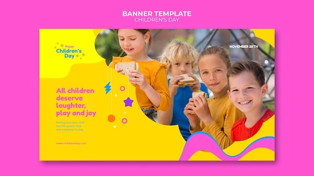 Zabawny kolorowy szablon poziomy baner na dzień dziecka