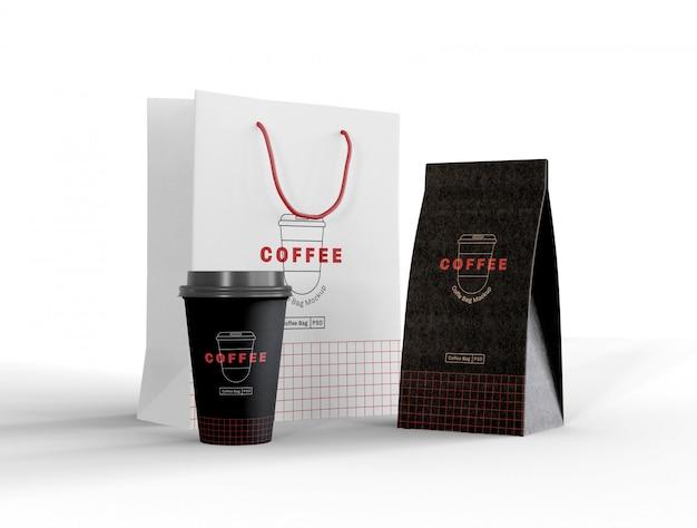 Zabierz makietę filiżanki kawy i papierowej torby