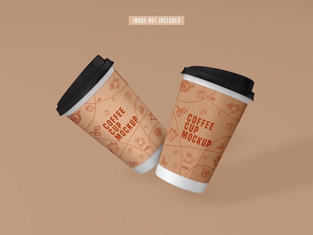 Zabierz makietę papierowej filiżanki kawy