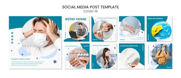 Zachowaj bezpieczeństwo wewnątrz covid-19 post w mediach społecznościowych