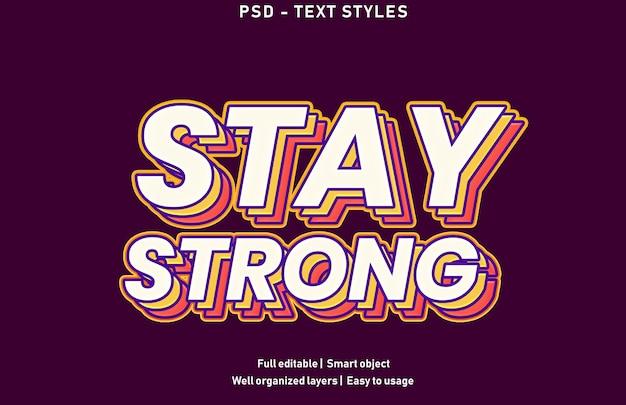 Zachowaj Silny Szablon Stylu Efektów Tekstowych Premium Psd