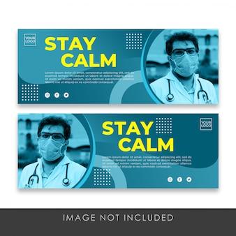 Zachowaj spokój sztandar o zdrowie covid-19 szablon kolekcji premium psd