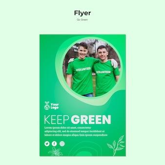 Zachowaj zielony szablon ulotki planety