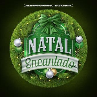 Zaczarowane świąteczne logo renderowania 3d do kompozycji