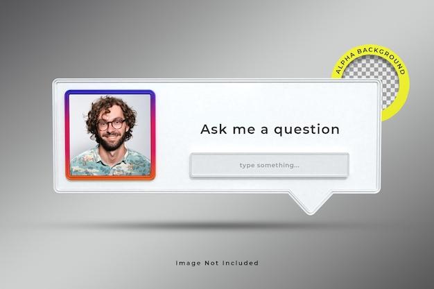Zadaj mi pytanie renderowanie ramki interfejsu 3d w mediach społecznościowych instagram