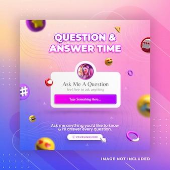 Zadaj mi pytanie szablon postu na instagramie w mediach społecznościowych