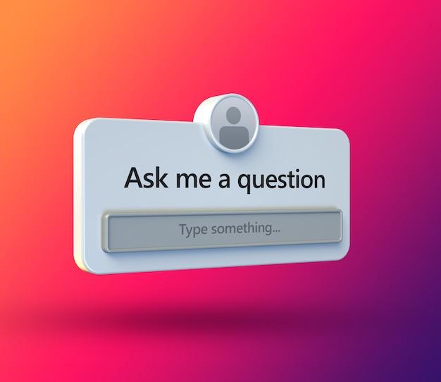 Zadaj mi ramkę interfejsu pytań w płaskiej konstrukcji 3d dla postu w mediach społecznościowych