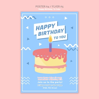 Zadowolony urodziny koncepcja plakat szablon