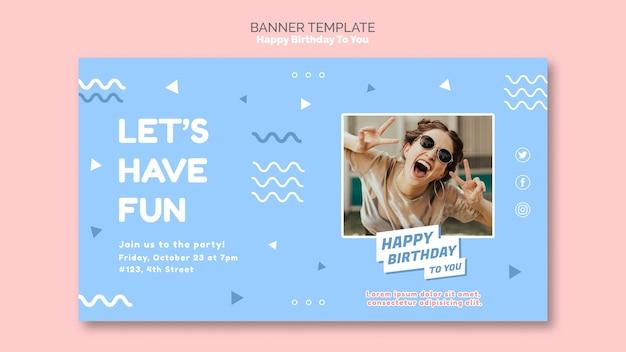 Zadowolony urodziny koncepcja szablon transparent