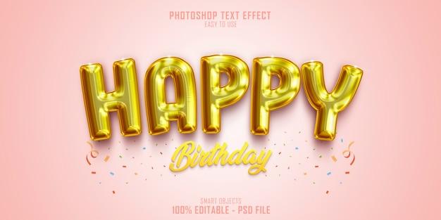 Zadowolony urodziny szablon efektu stylu tekstu 3d