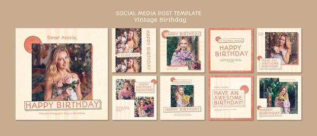 Zadowolony urodziny szablon mediów społecznościowych