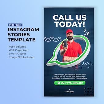 Zadzwoń do nas szablon historii na instagramie w promocji koncepcji kreatywnej