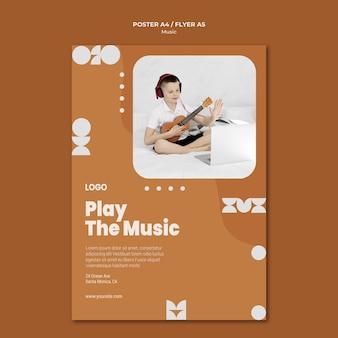 Zagraj w muzycznego chłopca grającego na ukulele plakat